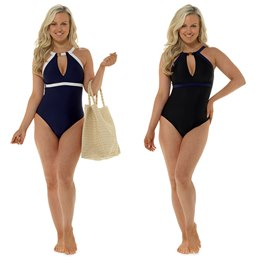 LN712 LADIES CONTRAST COLOURED SWIMSUIT WITH FLATTERING DEEP PLUNGE KEYHOLE