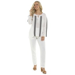 LN780 LADIES LONG SLEEVE PEASANT TOP WITH TAPED SLEEVE AND FRONT- WHITE