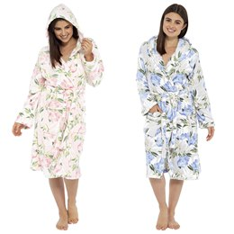 LN815 LADIES FLORAL PRINTED HOODED GOWN