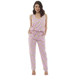 LN863 LADIES COCKTAIL PRINT JUMPSUIT