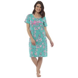 LN868 LADIES AQUAMARINE PRINT JERSEY NIGHTIE