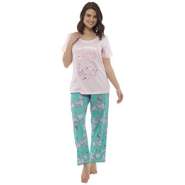 LN869 LADIES AQUAMARINE PRINT JERSEY PYJAMA SET
