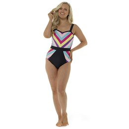 LN896 LADIES MULTI PANEL STRIPE SWIMSUIT