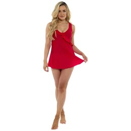 LN898 LADIES ASYMMETRICAL RUFFLE SWIMDRESS
