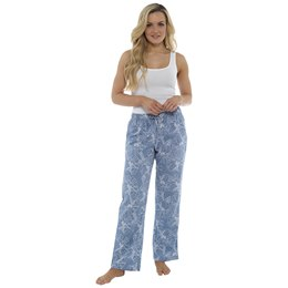 LN901 LADIES ELASTIC WAISTBAND PULL ON LINEN TROUSERS - FLORAL PRINT