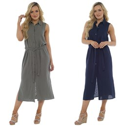 LN922 LADIES BUTTON THROUGH LINEN DRESS