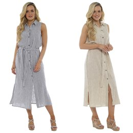 LN923 LADIES BUTTON THROUGH STRIPED LINEN DRESS