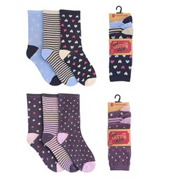 SK007 LADIES 3 PACK DESIGN SOCKS