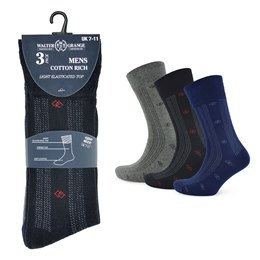 SK024 MENS 3 PACK SOFT TOP SOCKS (SMALL PATTERN)