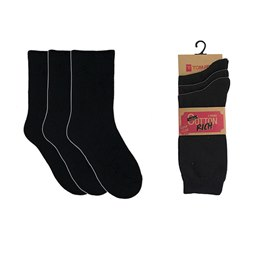 SK137BK LADIES 3 PACK BLACK COTTON/LYCRA SOCKS