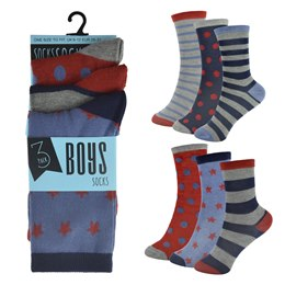 SK319 BOYS 3 PACK DESIGN SOCKS