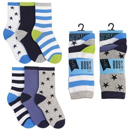 SK331A BOYS 3 PACK DESIGN SOCKS