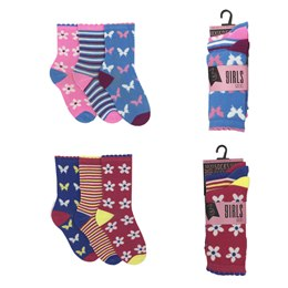SK333A GIRLS 3 PACK DESIGN SOCKS