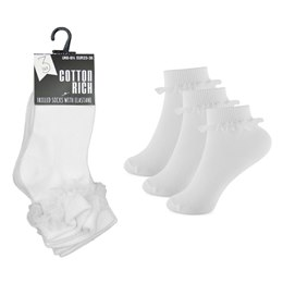 SK357A GIRLS 3 PACK FRILL SOCKS WITH LACE SOCKS  SIZE 6-8 1/2