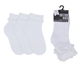 SK360 GIRLS 3 PACK FRILL SOCKS WITH LACE SOCKS  SIZE 4 - 5 1/2