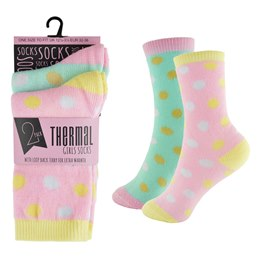 SK375 GIRLS 2 PACK THERMAL DESIGN SOCKS
