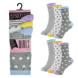 SK383 GIRLS 3 PACK DESIGN SOCKS