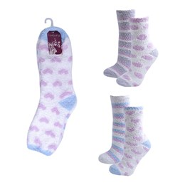 SK412 LADIES 2 PACK SUPER SOFT SLIPPER SOCKS WITH GRIP