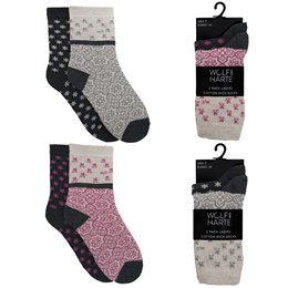 SK434 LADIES 2 PACK DESIGN SOCKS