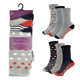 SK491 LADIES 3 PACK DESIGN SOCKS