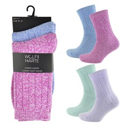 SK503 LADIES 2 PACK SOFT FEEL SOCKS