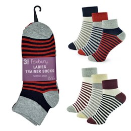 SK513 LADIES 3 PACK TRAINER SOCKS