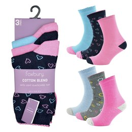 SK514 LADIES 3 PACK COTTON BLEND SOCKS