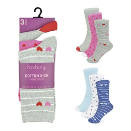 SK555 LADIES 3 PACK COTTON RICH DESIGN SOCKS