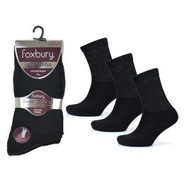 SK563 LADIES 3 PACK BLACK DIABETIC SOCKS