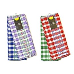 TC089 2 PACK CHECK DESIGN T-TOWELS