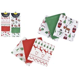 TC106 3 PACK CHRISTMAS T-TOWEL